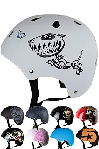 SkullCap Casco BMX - Casco Skate - Casco Bici, Taglia S (53 – 55 cm) Casco per Bambini, Design: Robodog