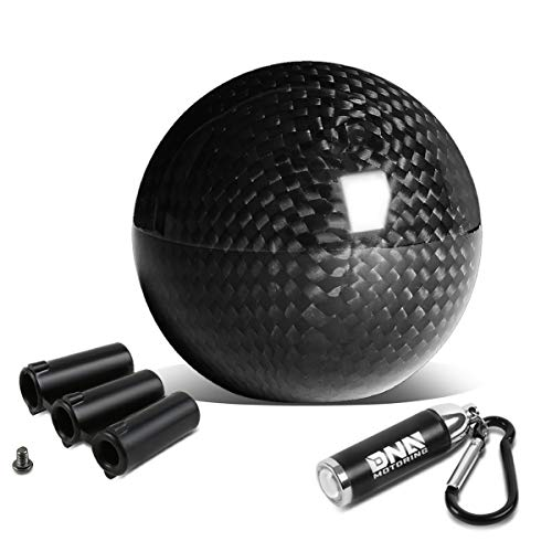 NRG Innovations SK-300BC-4-W 49mm Carbon Fiber Ball Style MT Manual Shifter Shift Knob + LED Keychain Flashlight