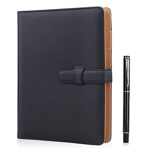 Cuaderno de piel Minlna tamaño A5, cuaderno/libreta de hojas sueltas recambiables, 200...