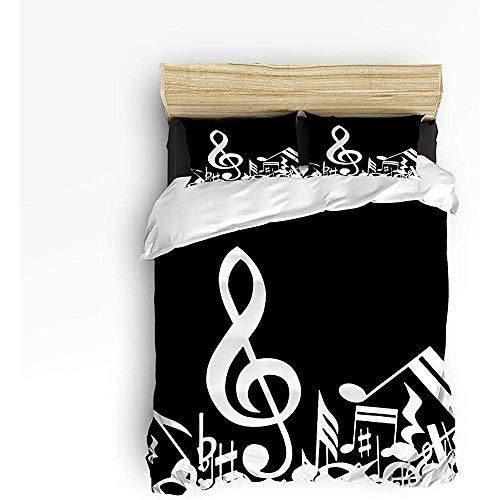 N/A 3 Stück Bettwäsche Set, Noten Musik Dekor Bettbezug Set Quilt für Kinder/Kinder/Jugendliche/Erwachsene weiß schwarz Königin Größe 86 'x 70'