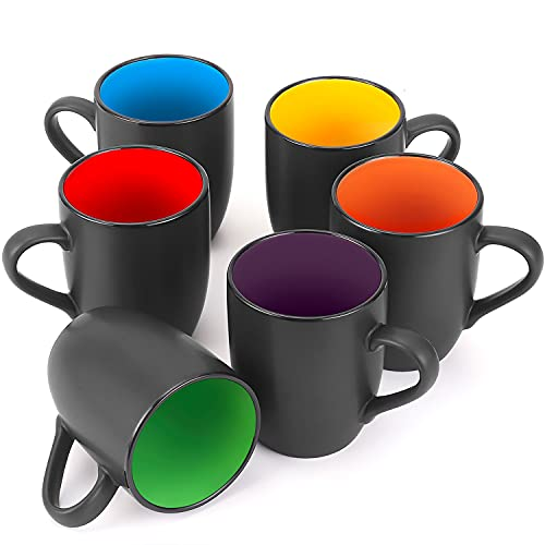6 Pack Coffee Mug Set, Farielyn-X 16 Ounce Ceramic Coffee Cups, Black Large Coffee mugs, Restaurant Coffee Cups for Coffee, Tea, Cappuccino, Cocoa, Cereal, Matte Black Outside and Colorful Inside