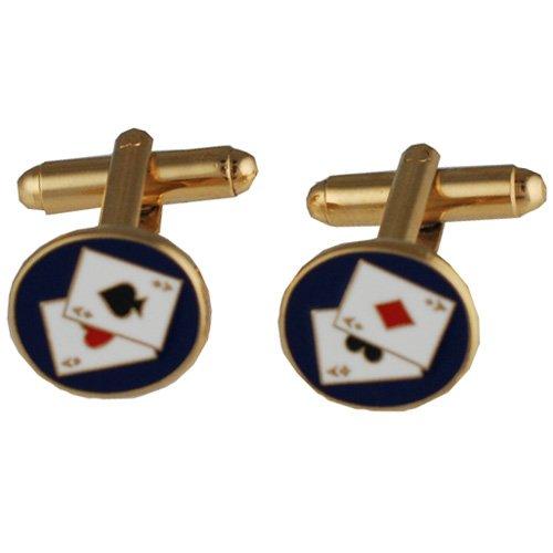 British Jewellery Workshops Boutons de Manchettes 14x12mm Poker en plaqué Or pivotant