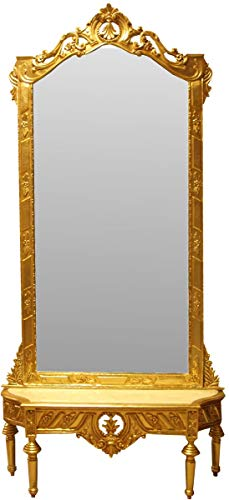 Casa Padrino Consola de Espejo Barroco Consola de Armario de Oro con...