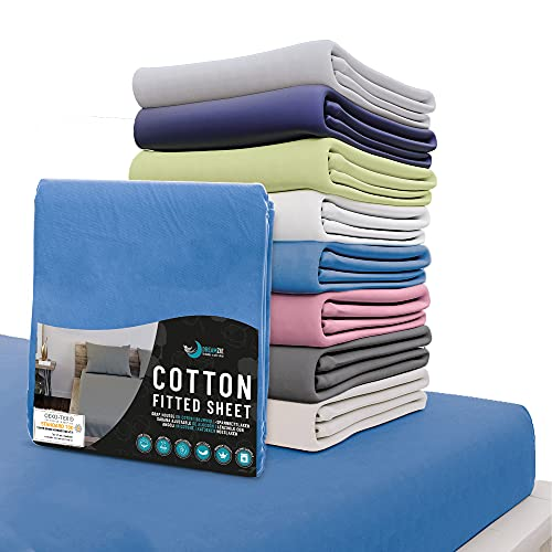 Dreamzie - Spannbettlaken 140x200 cm - 100% Jersey Baumwolle Zertifiziert Oeko-TEX® - Blau - Für Matratzen 140 x 200 x 22 cm