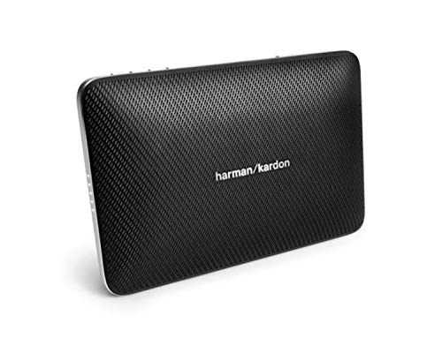 Harman/Kardon Esquire 2 Slimline Tragbares Aufladbares Bluetooth Wireless Lautsprechersystem mit Integrierter 360 Grad Freisprecheinrichtung, Echo- und Geräuschunterdrückung - Schwarz