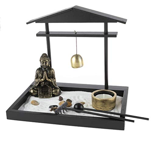 lachineuse Gran jardín Zen asiático, Dominante Noir, Blanc et Doré, 28x28x10cm