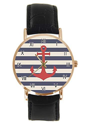 Reloj de Pulsera con Ancla náutica Vintage y Flores de Rosa, clásico, Unisex, analógico, de Cuarzo, Caja de Acero Inoxidable, Correa de Cuero