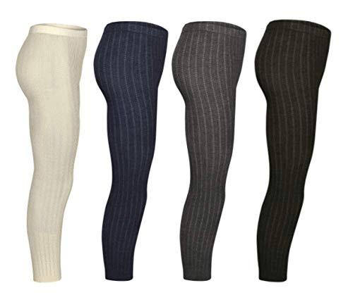 SG-WEAR 4 Piezas de Leggings de Punto niñas en Calidad de Costillas Finas Negro Azul Gris Blanco cálido Suave y Duradero Leggings térmicos 3-4, 5-6, 7-8, 9-10, 11-12 años