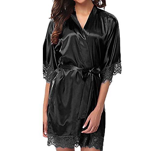 Dasongff dames satijnen ochtendjas kimono knielange lange badjas pyjama negligé nachthemd nachtkleding ondergoed V-hals met riem Small zwart