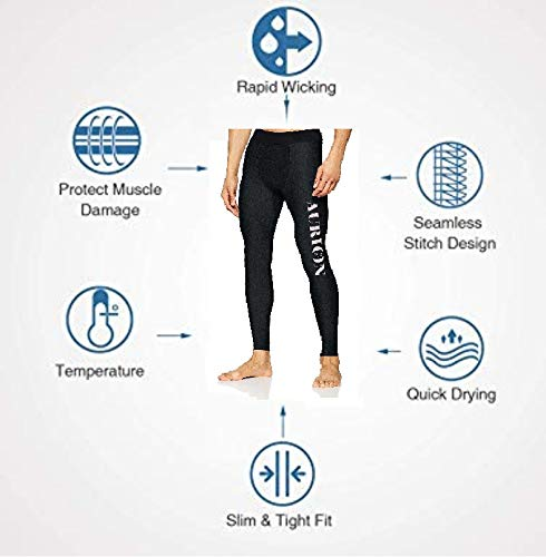 AURION Men's Performance Training Tights for Gym Yoga Sports Compression Running Leggings Gym Workout Tights Base Layer Pants