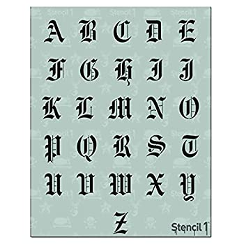 Stencil1 Letter Stencils 1  - Old English Calligraphy Letters & Numbers - Mylar Uppercase and Lowercase Alphabet for Hand Painting Drawing & Cutting - Perfect for Lettering on Wood Vinyl & More