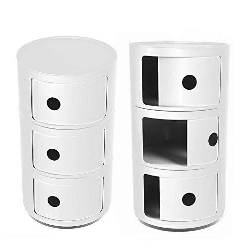 EBTOOLS 2Pcs Mesillas de Noche Gabinete de Almacenaje Redondo Mueble de la Esquina del Dormitorio Moderno Simple Mesita de Noche Casillero Multifuncional