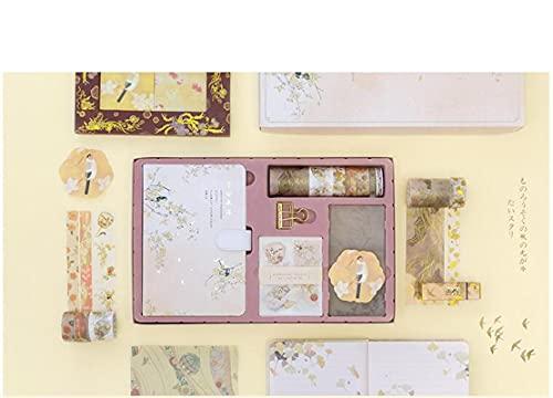 MLOPPTE Handkonto Geschenkbox,Antike Art tragbare Traveller Journal Notebook Briefpapier Set Journal Clips Aufkleber Tape Box Herbst