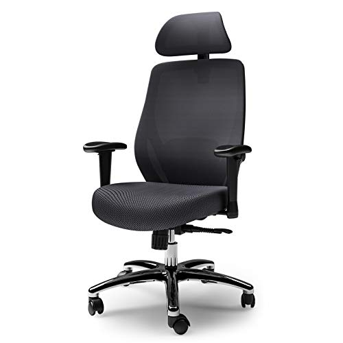 Ergonomic Office Chair,LIANFENG High Back Desk Chair with Adjustable Lumbar Support & Thick Seat Cushion - 130°Reclining & Rocking Mesh Computer Chair with Adjustable Headrest, Armrest (All Black)