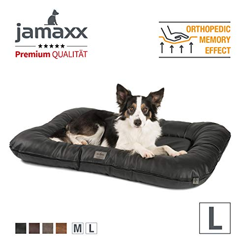 JAMAXX Premium Kunstleder Hunde-Kissen - Weiche Orthopädische Memory Visco Füllung, Dicke Polsterung, Bezug Abwaschbar mit Reißverschluss, Hundematte PDB1020 (L) 110x75 schwarz