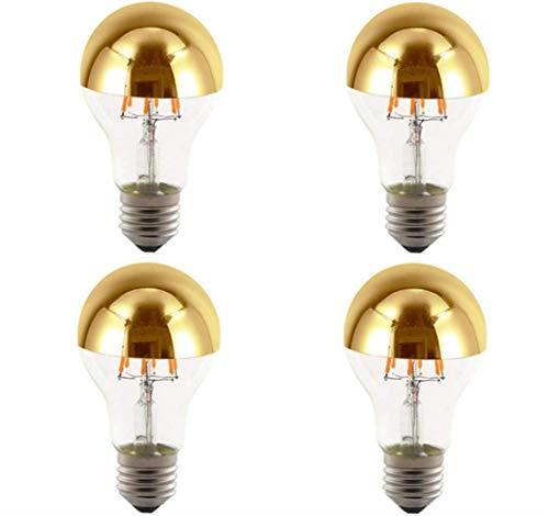 JKLcom Half Chrome Light Bulb A60 6W 60W Equivalent E27 Base LED Filament Vintage Edison Bulb with Mirror Half Chrome Gold Bulb,for Bathroom Kitchen Living Room,Warm White 2700K,Non-Dimmable,4Pack