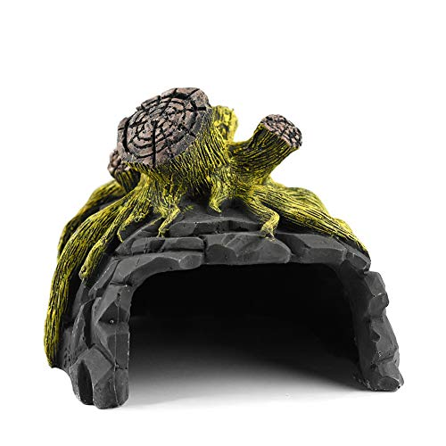 爬虫類飼育ボックス ウェットシェルター 隠す洞窟 生息地の装飾 テラリウム 隠れ家 カメバスキングプラットフォーム セラミックス