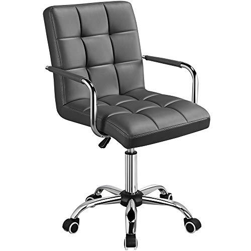 Yaheetech Chaise de Bureau avec Roues Pivotantes en éco-Cuir Fauteuil de Bureau avec Accoudoirs Amovibles pour Chambre Studio Hauteur Réglable Gris