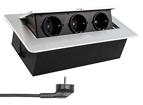 Versenkbare Einbausteckdose Silber mit Kabel/Stecker 3er Schuko Steckdose Tischsteckdose versenkbar Schreibtisch Stromdose Energiestation
