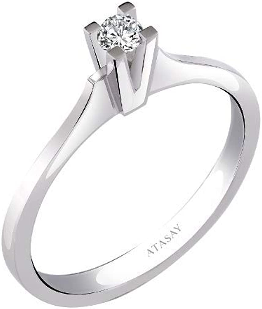 Atasay Jewelry 14K Solid White Gold Solitaire Diamond Ring - White Gold Diamond Engagement Rings for Women with 0.10ct and 0.11ct Options (Ring Size 6.5)
