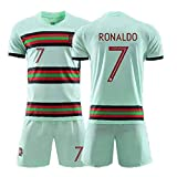 Yong Cristiano Ronaldo CR7 Fan Maillot De Football Sets,Portugal Mannschaft #7 T-Shirts Und Shorts,Vert,XL