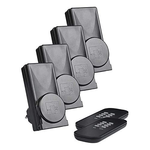HEITECH 2er Funksteckdosenset mit Fernbedienung außen - Funksteckdose IP44 aussen mit selbstlernende Codierung, 25m Reichweite, Kindersicherung -Outdoor Funksteckdosen Set für den Außenbereich