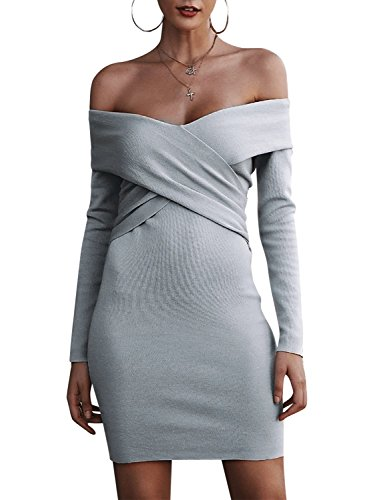 Melegant Damen Herbst Kurz Kleid Elegant Off Shoulder Criss Cross Vintage Langarm Eng Strickkleider Winter Grau
