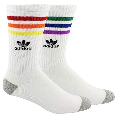 adidas Originals Originals Roller Crew Sock (1-Pack) Calcetines, White/Rainbow, Large (Shoe Size 5-10) para Mujer