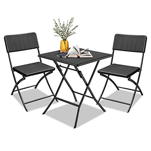 LZQ 3-Piece Garden Furniture Bistro Set Polyrattan Dining Set 1x Square + 2x Chairs Balcony Furniture Set Black