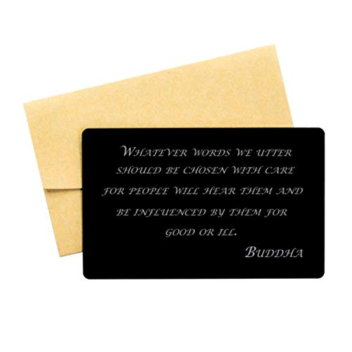 Buddha Quote,Aluminum Note Card,Whatever Words we,Wallet Insert Card,Buddha Verse, Buddhist Inspired Quote,Buddhist,Wallet Card