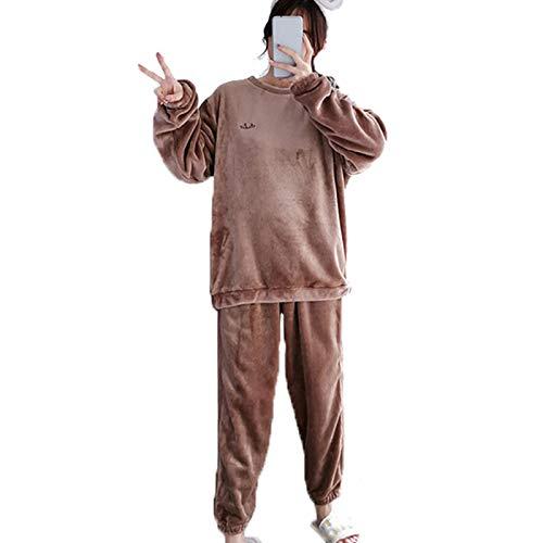 Damen Flanell Pyjama Set Verdicken Lose Plus Kaschmir Heimanzug