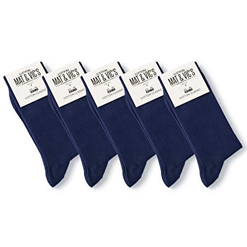 Mat & Vic's Calcetines Clásicos de Vestir para Hombre y Mujer, Algodón, Certificado Oeko-Tex 100, cómodos (5 pares, azul navy, UK 12-15 / EU 47-50)