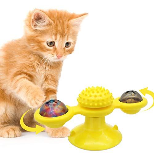 Juguete interactivo para gato con ventosa, molino de viento para tocador, juguete para rascar cosquillas