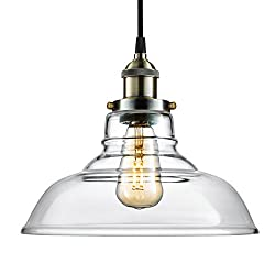 Arvidsson Vintage Hanging Lamp, INDUSTRIAL Pendant Light, CLEAN Clear Glass Shade, 100% Brass Brushed Antique Socket, Pretty Cool Fabric Cord, SIMPLE Dining Room Light, UL Standard, ETL Qualified