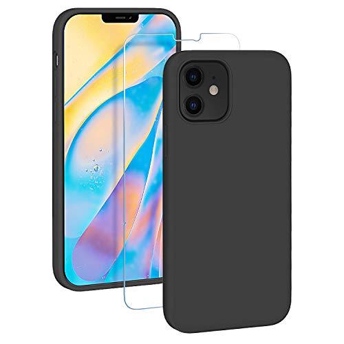 EasyAcc Custodia Silicone Compatibile con iPhone 12 Mini 5.4 2020, Sottile e Morbida Custodia per Cellulare con Fodera in Microfibra Cover Protettiva Antiurto Compatibile con iPhone 12- Nero