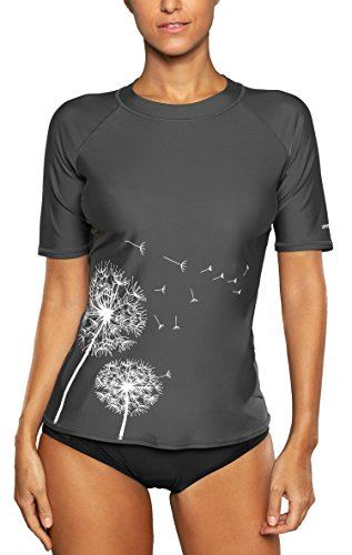 Attraco  Damen Badeanzug Rash Guard UV Schutz Shirts Kurzarm Surf Shirt UPF, 44,2XL, Grau