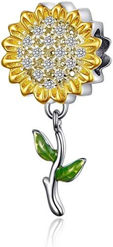 LaMenars Abalorio de girasol para pulseras Pandora, cuentas de plata 925 para pulseras y collares de mujer, colgante para el día de San Valentín, cumpleaños del día de la madre