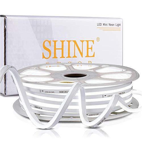 Shine Decor 82FT LED Neon Rope Lights Dimmable, ETL-Listed 110V 120V AC LED Rope Light Outdoor Indoor IP65 Waterproof, Flexible Neon Lights Strip 6500K Cool White for DIY Lighting Decoration(7x14.5mm)