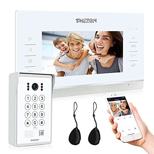 TMEZON WiFi IP Videoportero Sistema de intercomunicación,7 pantalla zoll y 1 timbre con cable, Desbloqueo de aplicación/contraseña/tarjeta/Monitor 4 en 1, Instantánea/Grabación