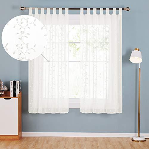 Deconovo Transparente Stores Vorhänge Gardinen Schals Wohnzimmer Schlafzimmer, Polyester, Creme Blatt, 175x140, 2
