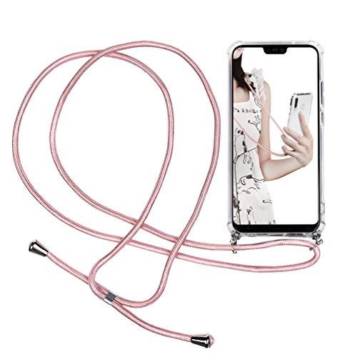 P20 Lite Handyhülle Für Huawei P20 Lite, Durchsichtig Hülle Mit Gürtel Biegsam Rückschale Handy-Kette Kodel zum Umhängen, Case Silikon Gel mit Band Für Smartphone Necklace, Rosegolder Band