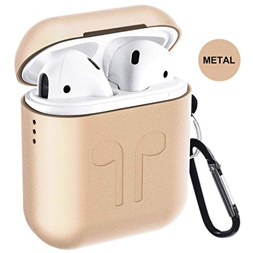 Airpods Case, Qcoqce Funda Airpods en Metal, Ligero Impermeable Antipolvo Airpods Accesorios con Protective Skin Silicona Metalica para Apple Airpods (Dorado)