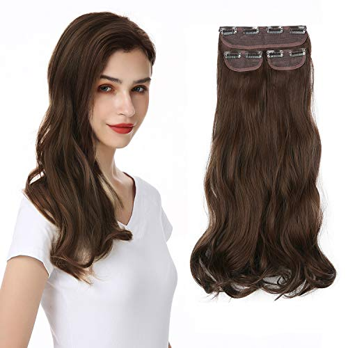 """Invisible Wavy Clip on Hair Extensions(Thick Long Natural Clip Hair Extensions) 3 PCS Set Synthetic Clip Extensions for Women and Girls -Medium Brown 20"""""""