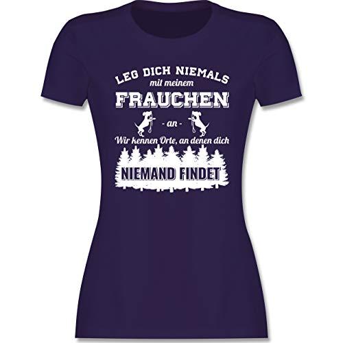 Hunde - Leg Dich Niemals mit Meinem Frauchen an - S - Lila - Tshirt Mein Frauchen und ich - L191 - Tailliertes Tshirt für Damen und Frauen T-Shirt