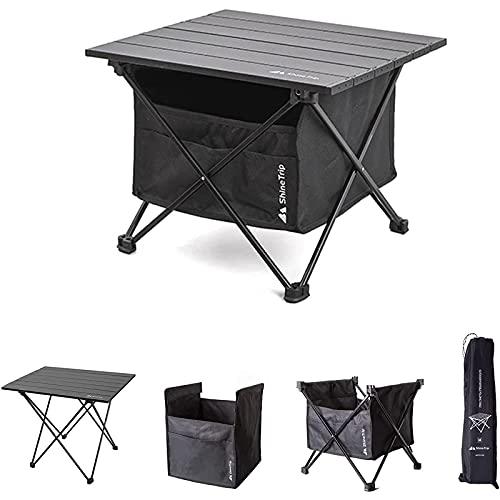 ANYY Mesa de camping plegable portátil, mesa de picnic, mesa plegable ligera con mesa de aluminio y bolsa de transporte, para jardín al aire libre (M, mesa+bolsa)
