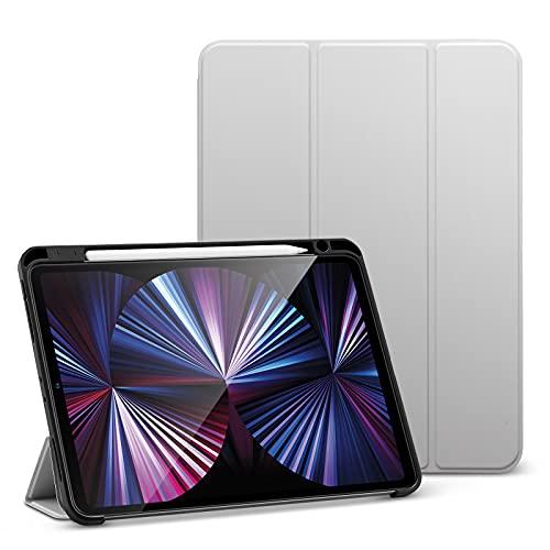 ESR Funda Pencil Compatible con iPad Pro 11 2021, Ranura integrada para el Pencil 2, Funda Trasera Flexible, automático de Reposo/Actividad, Soporte visualización y escritural, Serie Rebound, Gris