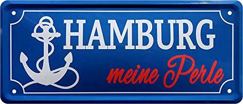 Blechschild Straßenschild: Hamburg – Meine Perle Stadt Wappen Flagge Deko Strassenschild Schild Türschild Metallschild Eingang Hauseingang Geschenk zum Geburtstag oder Weihnachten 28x12 cm