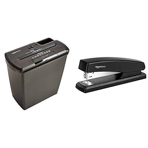 AmazonBasics 8-Sheet Strip-Cut Paper, CD and Credit Card Home Office Shredder & 10-Sheet Capacity, Non-Slip, Office Stapler with 1000 Staples, Black