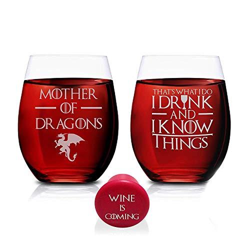 Geboren voor-Anime Pap van LP Frame (15 Ounce) Set van 2- Permanente Gegraveerde Rode Wijn Glaswerk Gepersonaliseerde Moeder Present,Moeder van Draken & Dat is wat ik drink en ik weet dingen