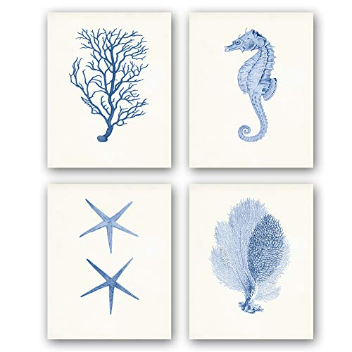 Unframed Ocean Animals Art Print Cute Sea Life Art Painting, Watercolor Abstract Seaweed Seahorse Corals Starfish Art, Set of 4(8' x10' )Canvas Funny Posters For Kids Bathroom or Nursery Decor